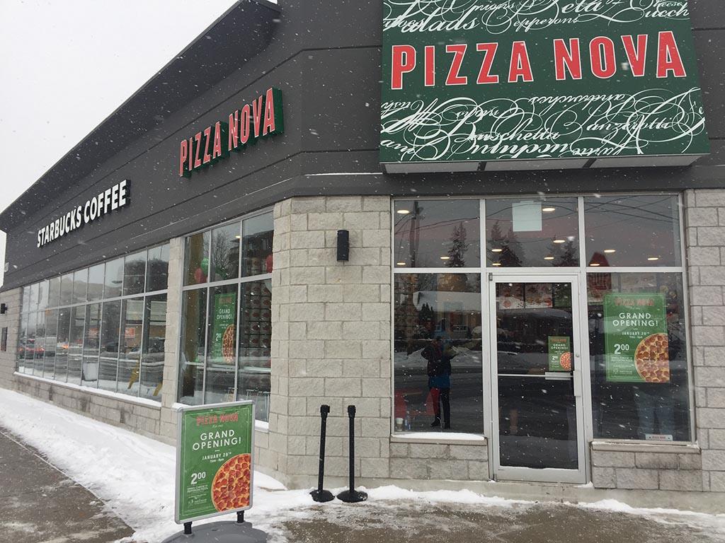 The exterior of a new Pizza Nova pizza shop