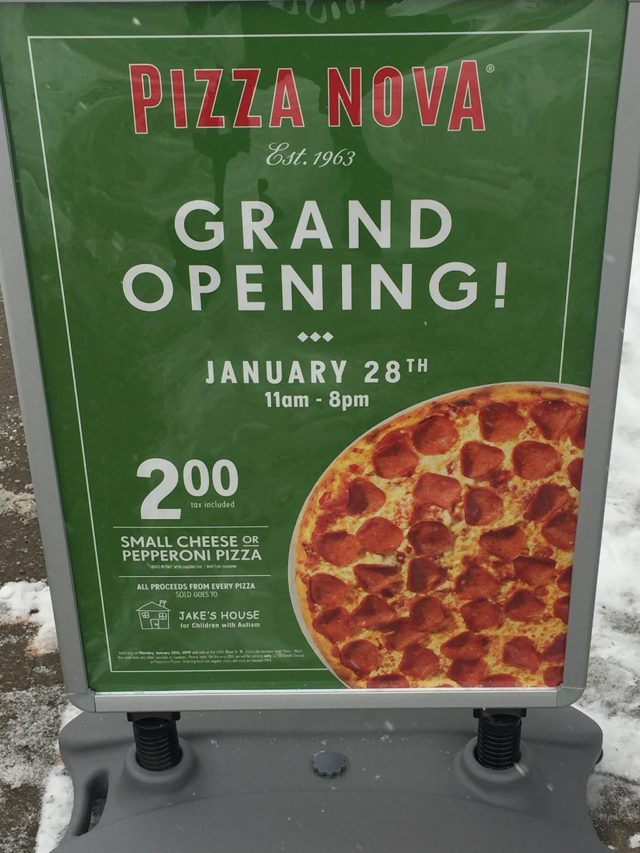 A poster for the grand opening of a new Pizza Nova with proceeds donated to Jake's House charity