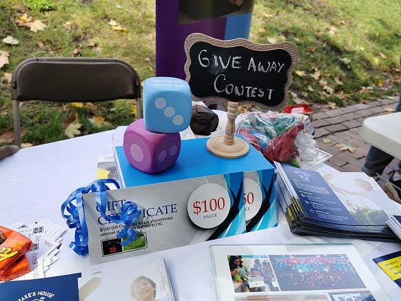 arrangement of giveaway items on table