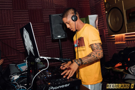 dj working in dj booth