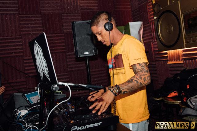 dj working in dj booth